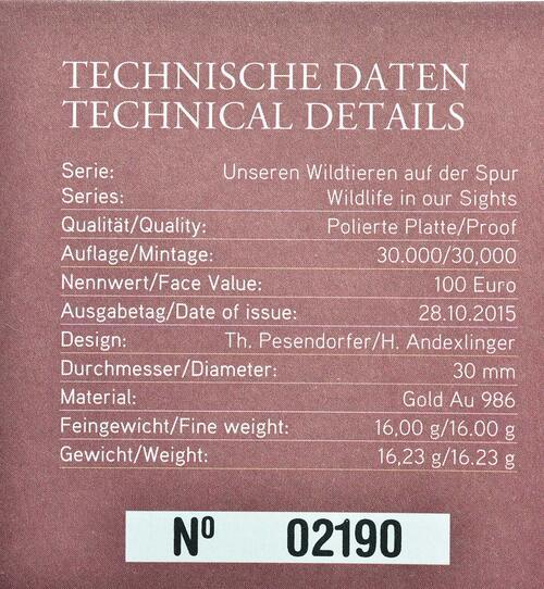 Zertifikat:Österreich : 100 Euro Auerhahn  2015 PP