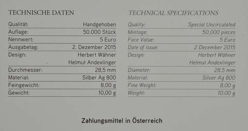 Zertifikat:Österreich : 5 Euro Neujahrskonzert  2016 Stgl.