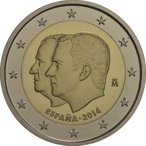 Rückseite :Spanien : 2 Euro König Felipe VI. + Medaille  2014 PP