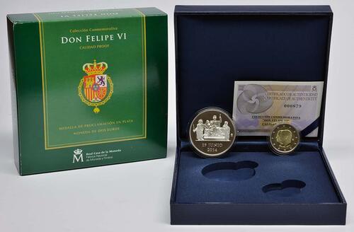 Lieferumfang :Spanien : 2 Euro König Felipe VI. + Medaille  2014 PP