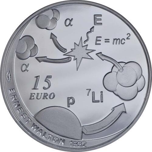 Vorderseite:Irland : 15 Euro Ernest Walton - Physik Nobelpreisträger  2015 PP