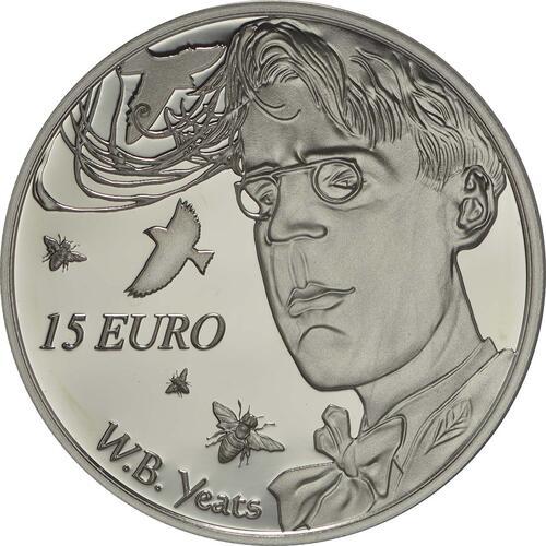 Vorderseite:Irland : 15 Euro 150. Geburtstag W.B. Yeats - Irischer Dichter  2015 PP