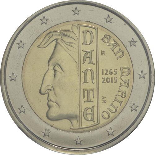Rückseite:San Marino : 2 Euro 750. Jahrestag der Geburt von Dante Alighieri  2015 Stgl.