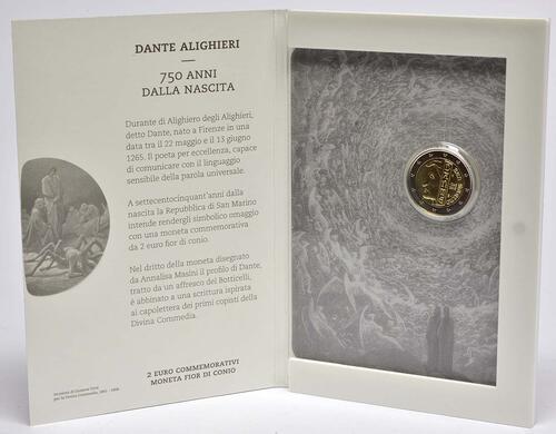 Lieferumfang:San Marino : 2 Euro 750. Jahrestag der Geburt von Dante Alighieri  2015 Stgl.