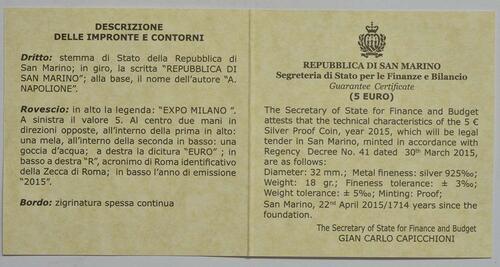 Zertifikat:San Marino : 5 Euro Expo Mailand 2015  2015 PP