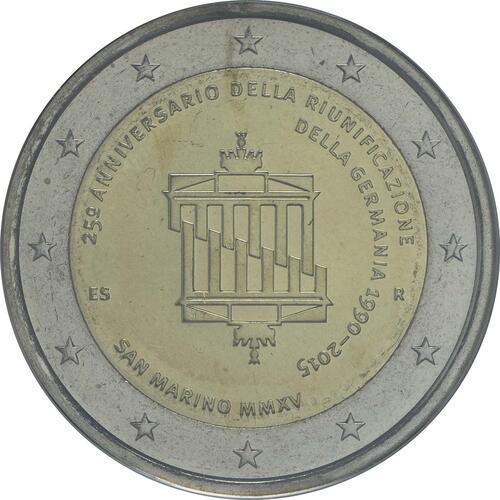 Rückseite:San Marino : 2 Euro 25. Jahrestag der Wiedervereinigung Deutschland  2015 Stgl.