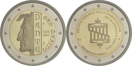 Rückseite:San Marino : 7,88 Euro KMS San Marino mit beiden 2 Euro Gedenkmünzen - Dante und Wiedervereinigung  2015 PP