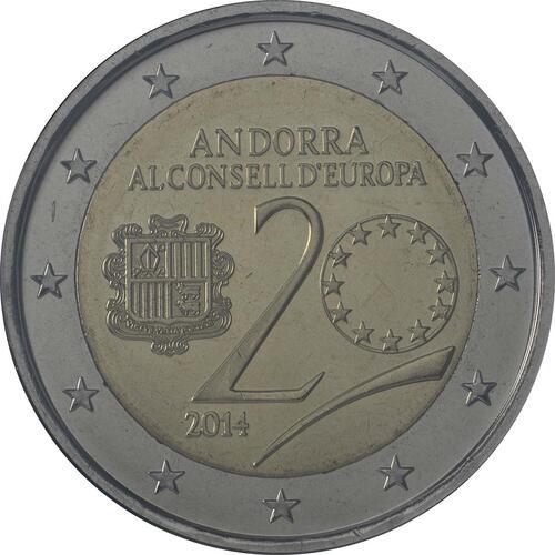 Rückseite :Andorra : 2 Euro 20 Jahre Mitgliedschaft von Andorra im Europarat  2014 bfr