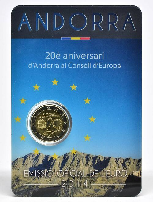 Lieferumfang :Andorra : 2 Euro 20 Jahre Mitgliedschaft von Andorra im Europarat  2014 bfr