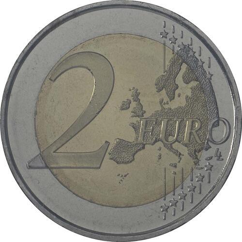 Vorderseite :Andorra : 2 Euro 20 Jahre Mitgliedschaft von Andorra im Europarat  2014 bfr