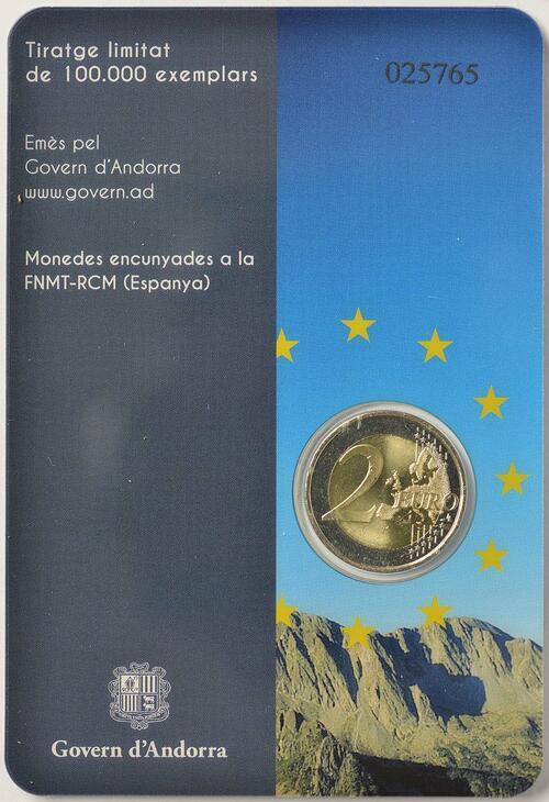 Zertifikat :Andorra : 2 Euro 20 Jahre Mitgliedschaft von Andorra im Europarat  2014 bfr