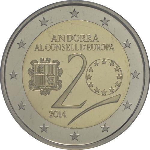 Rückseite:Andorra : 2 Euro 20 Jahre Mitgliedschaft von Andorra im Europarat  2014 PP