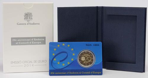 Lieferumfang:Andorra : 2 Euro 20 Jahre Mitgliedschaft von Andorra im Europarat  2014 PP