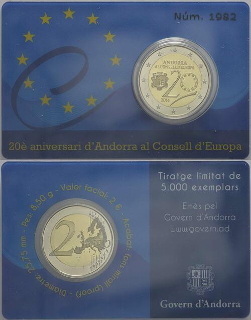 Zertifikat:Andorra : 2 Euro 20 Jahre Mitgliedschaft von Andorra im Europarat  2014 PP