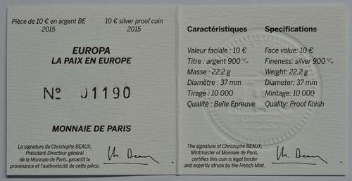 Zertifikat:Frankreich : 10 Euro Frieden in Europa  2015 PP