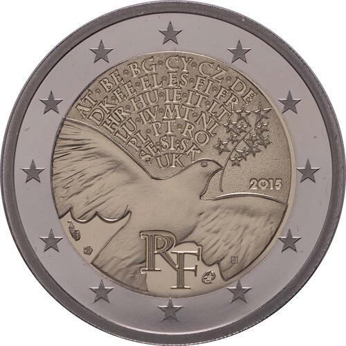 Rückseite:Frankreich : 2 Euro Frieden in Europa  2015 PP