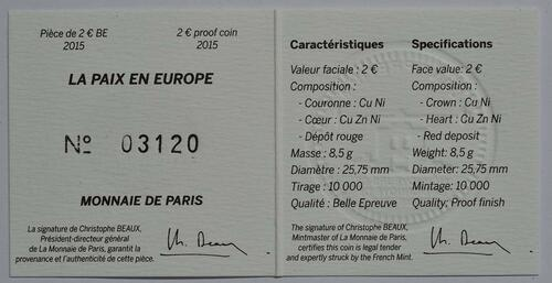 Zertifikat:Frankreich : 2 Euro Frieden in Europa  2015 PP