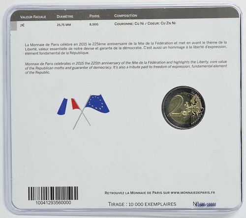 Rückseite:Frankreich : 2 Euro Föderationsfest  2015 Stgl.