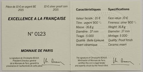 Zertifikat:Frankreich : 10 Euro De la Cuisine à l'Assiette - mit Keramikeinlage - Münze gebogen  2015 PP
