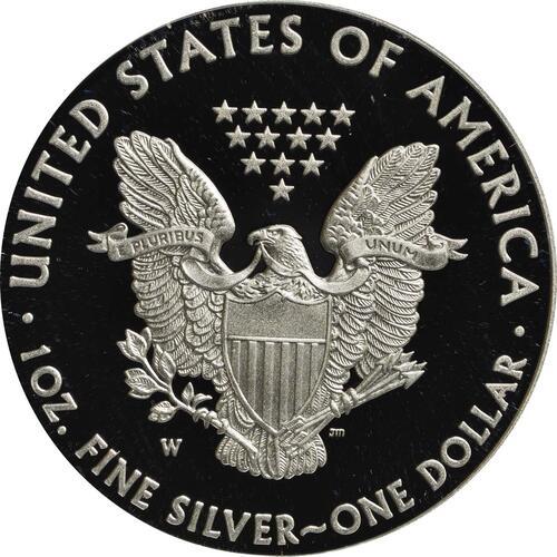 Rückseite:USA : 1 Dollar Silber Eagle 1 oz Polierte Platte  2014 PP
