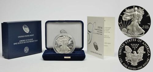 Lieferumfang :USA : 1 Dollar Silber Eagle 1 oz Polierte Platte  2014 PP