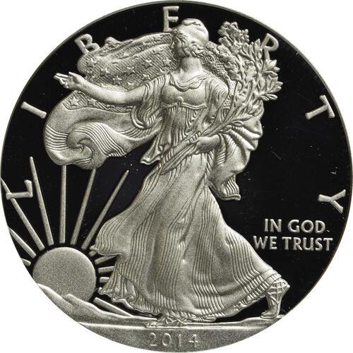 Vorderseite :USA : 1 Dollar Silber Eagle 1 oz Polierte Platte  2014 PP