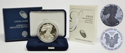 Lieferumfang:USA : 1 Dollar Silber Eagle 1 oz Polierte Platte  2015 PP