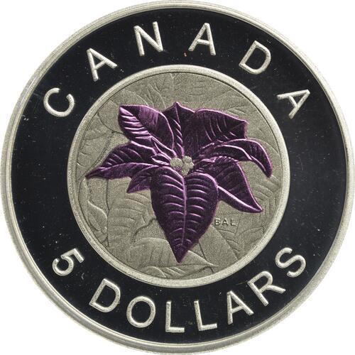 Vorderseite:Kanada : 5 Dollar Kanadische Blumen - Weihnachtsstern - Silber Niob  2014 PP