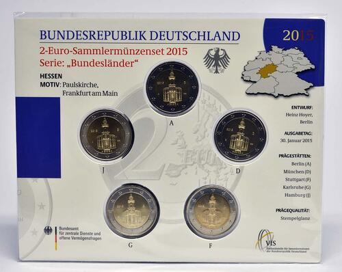 Lieferumfang :Deutschland : 2 Euro Hessen - Paulskirche Frankfurt  2015 Stgl.
