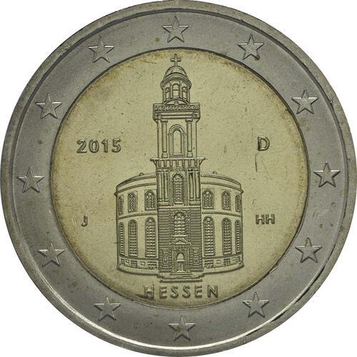 Rückseite:Deutschland : 2 Euro Hessen - Paulskirche Frankfurt Buchstabe unserer Wahl  2015 bfr