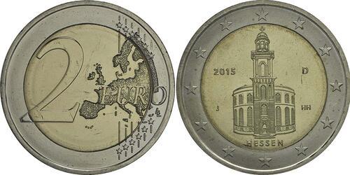 Lieferumfang :Deutschland : 2 Euro Hessen - Paulskirche Frankfurt Buchstabe unserer Wahl  2015 bfr