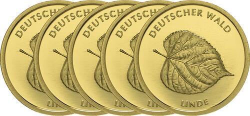 Lieferumfang :Deutschland : 20 Euro Linde Komplettsatz ADFGJ  2015 Stgl.