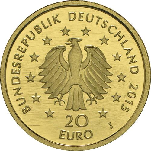 Rückseite :Deutschland : 20 Euro Linde Buchstabe unserer Wahl  2015 Stgl.