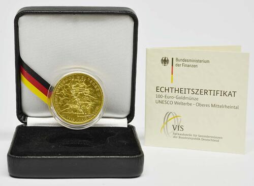 Lieferumfang :Deutschland : 100 Euro Oberes Mittelrheintal Buchstabe unserer Wahl  2015 Stgl.