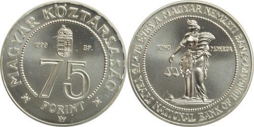 Lieferumfang:Ungarn : 75 Forint 75 Jahre Nationalbank  1999 Stgl.