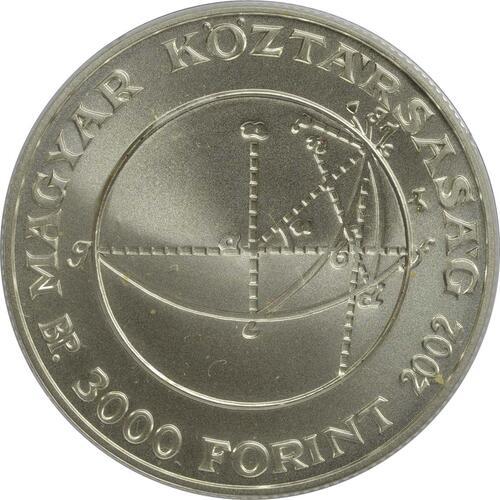 Rückseite:Ungarn : 3000 Forint 200 Geburtstag Janos Bolyai  2002 Stgl.
