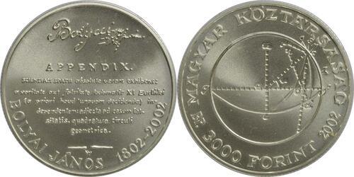 Lieferumfang:Ungarn : 3000 Forint 200 Geburtstag Janos Bolyai  2002 Stgl.
