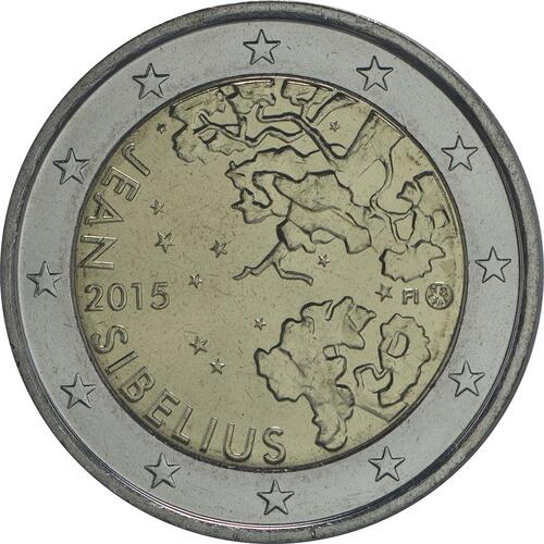 Rückseite:Finnland : 2 Euro Jean Sibelius  2015 bfr