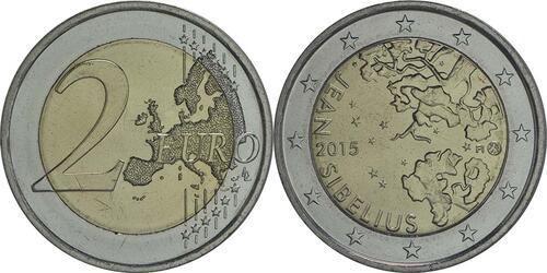 Lieferumfang :Finnland : 2 Euro Jean Sibelius  2015 bfr