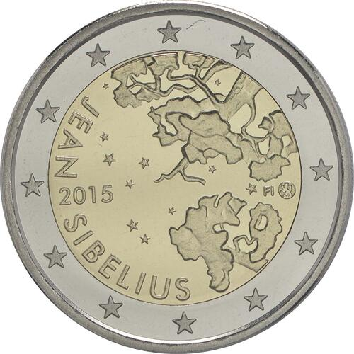 Rückseite :Finnland : 2 Euro Jean Sibelius  2015 PP