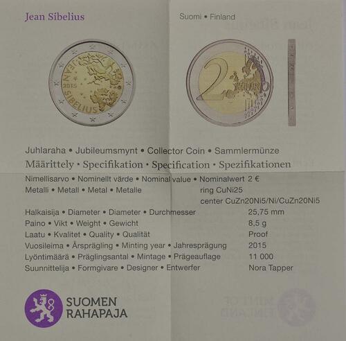 Zertifikat :Finnland : 2 Euro Jean Sibelius  2015 PP