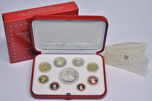 Lieferumfang:Vatikan : 23,88 Euro KMS Vatikan mit 20 Euro Gedenkmünze Papst Franziskus MMXV  2015 PP