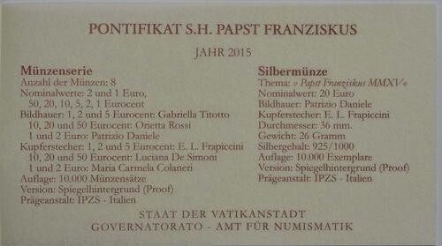Zertifikat:Vatikan : 23,88 Euro KMS Vatikan mit 20 Euro Gedenkmünze Papst Franziskus MMXV  2015 PP