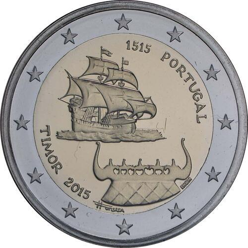 Rückseite :Portugal : 2 Euro 500 Jahre seit dem ersten Kontakt mit Timor  2015 PP