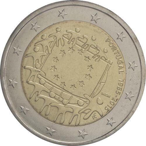 Rückseite:Portugal : 2 Euro 30 Jahre Europäische Flagge  2015 bfr