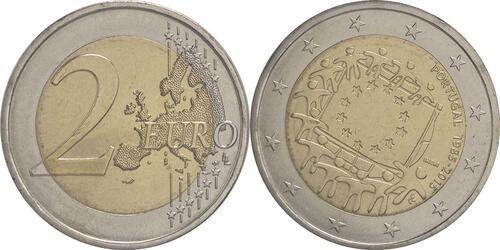 Lieferumfang :Portugal : 2 Euro 30 Jahre Europäische Flagge  2015 bfr