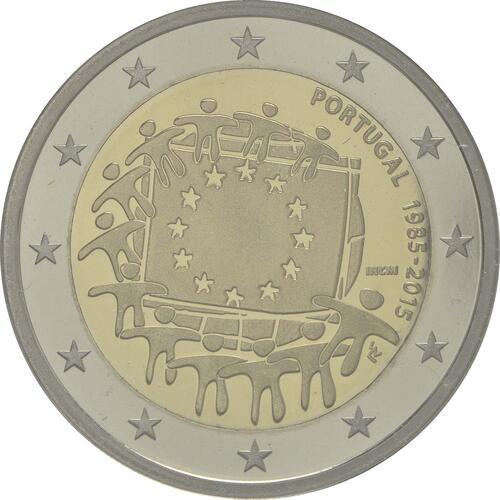 Rückseite :Portugal : 2 Euro 30 Jahre Europäische Flagge  2015 PP