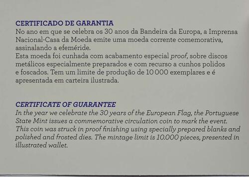Zertifikat :Portugal : 2 Euro 30 Jahre Europäische Flagge  2015 PP