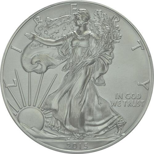 Vorderseite :USA : 1 Dollar 1 $ 2015 Silber Eagle 1 oz  2015 Stgl.