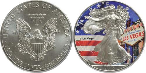 "Lieferumfang:USA : 1 Dollar Silber Eagle ""Las Vegas"" - farbig  2015 Stgl."